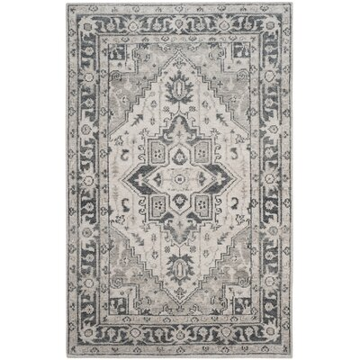 Pearse Hand-Knotted Gray Area Rug Rug Size: Rectangle 5 x 8