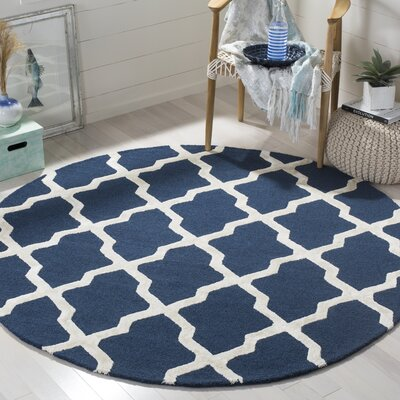 Parker Lane Hand Tufted Navy Area Rug Rug Size: Round 6