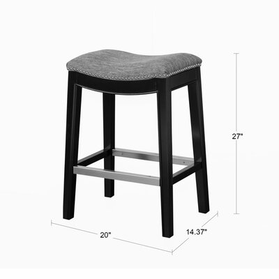 Henninger Bar Stool Upholstery: Navy, Finish: Espresso, Nailhead Finish: Bronze