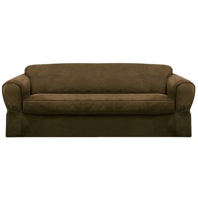 Bearup Barras Box Cushion Sofa Slipcover Upholstery: Chocolate