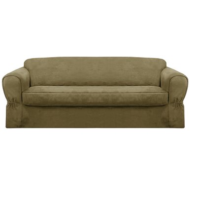 Bearup Barras Box Cushion Sofa Slipcover Upholstery: Sage