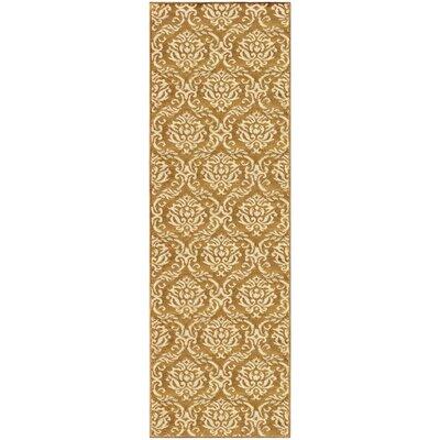 Macias Fleur De Lis Gold Area Rug Rug Size: Runner 27 x 8