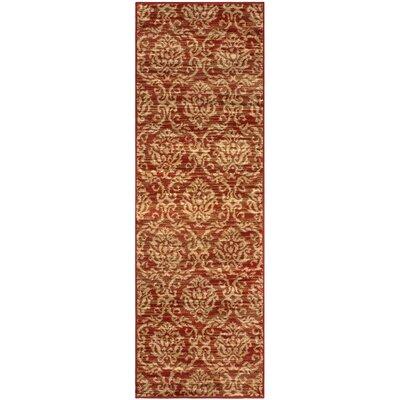 Macias Fleur De Lis Red/Beige Area Rug Rug Size: Runner 27 x 8