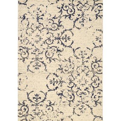Kavia Navy/Cream Area Rug Rug Size: 53 x 77