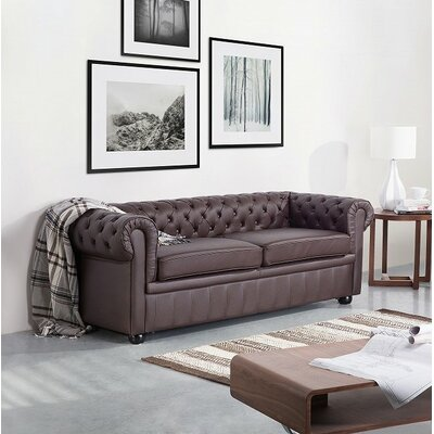 Wardingham Leather Chesterfield Sofa Upholstery: Brown