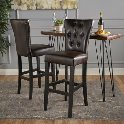 Schiller 30 Bar Stool Upholstery: Brown Leather
