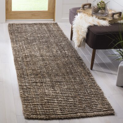 Svetlana Hand-Woven Natural/Grey Area Rug Rug Size: Runner 26 x 8