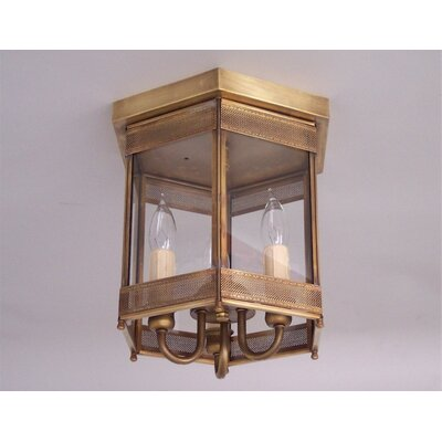 Chearsley Industrial 3-Light Flush Mount Finish: Antique Brass