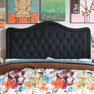 Turin Tufted Upholstered Panel Headboard Size: Queen, Upholstery: Charcoal
