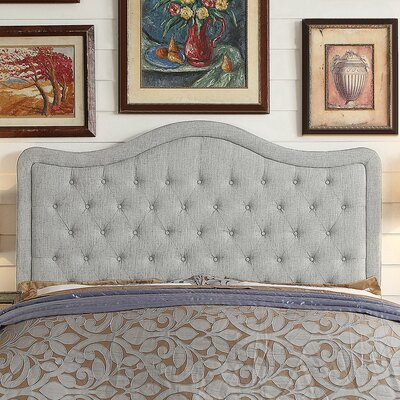 Turin Tufted Upholstered Panel Headboard Size: Full, Upholstery: Gray