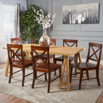 Williamsville Farmhouse 7 Piece Dining Set Finish: Oak/Mahogany