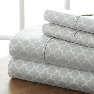 Edinburg Patterned Sheet Set Size: Full, Color: Gray