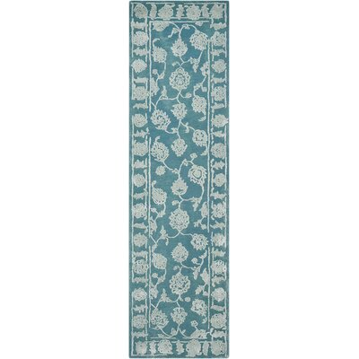 Annabel Hand-Woven Aqua Area Rug Rug Size: 23 x 8