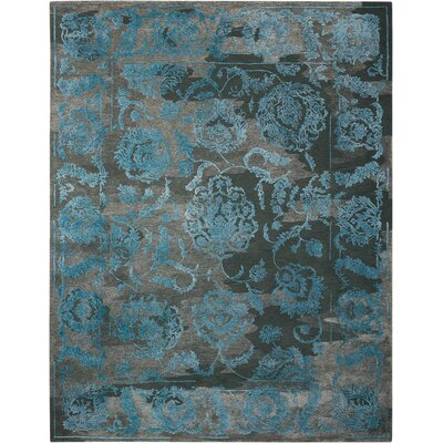 Annabel Hand-Woven Charcoal/Blue Area Rug Rug Size: 79 x 99