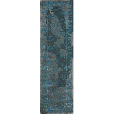 Annabel Hand-Woven Charcoal/Blue Area Rug Rug Size: 23 x 8