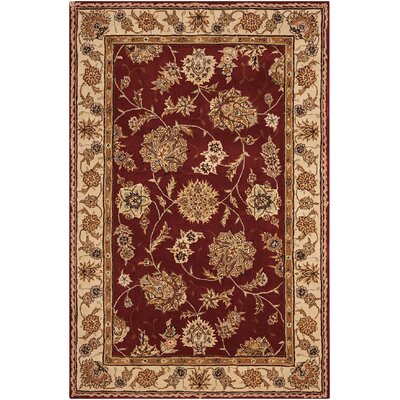 Fredricks Hand-Tufted Burgundy Area Rug Rug Size: Rectangle 36 x 56