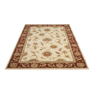 Freeport Handmade Beige/Red Area Rug Rug Size: Rectangle 5 x 8