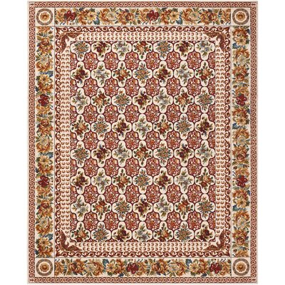 Bluebird Cream/Crimson Area Rug Rug Size: 79 x 99