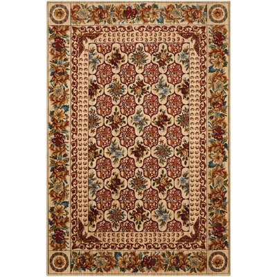 Bluebird Cream/Crimson Area Rug Rug Size: 56 x 8