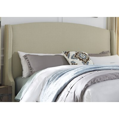 Dellinger Wing Shelter Upholstered Wingback Headboard Size: Queen, Upholstery: Beige