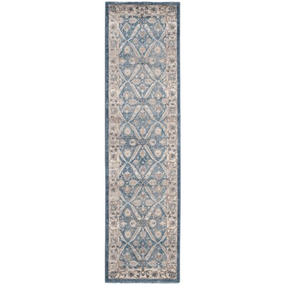 Sofia Power Loom Blue/Beige Area Rug Rug Size: Runner 22 x 6