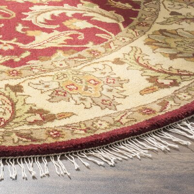 Hindsboro Tufted Wool Red/Gold Area Rug Rug Size: Rectangle 26 x 10