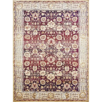 Rennick Red/Beige Area Rug Rug Size: Rectangle 9 x 12