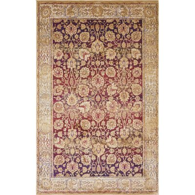 Rennick Red/Beige Area Rug Rug Size: Rectangle 5 x 8