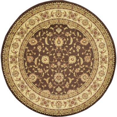 Mert Brown Area Rug Rug Size: Round 8