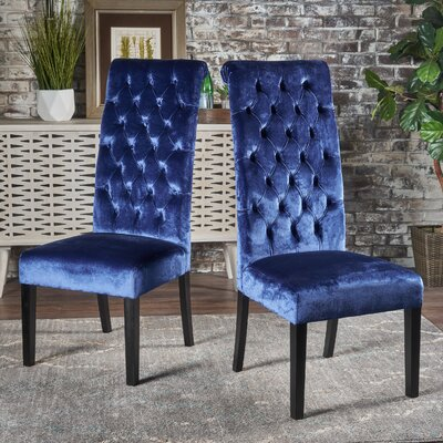 Petersburg Upholstered Dining Chair Upholstery Color: Blue