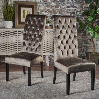 Petersburg Upholstered Dining Chair Upholstery Color: Gray