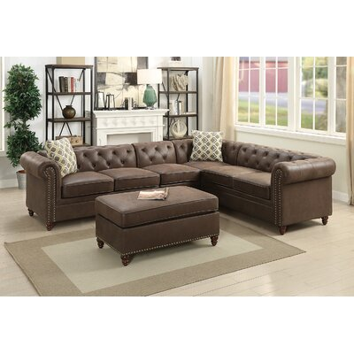Cherwell Reversible Sectional Upholstery: Dark Coffee