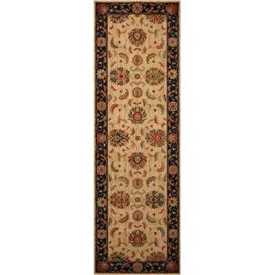 Crownover Wool Ivory/Black Indoor Area Rug Rug Size: Runner 26 x 8