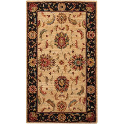 Crownover Wool Ivory/Black Indoor Area Rug Rug Size: Runner 26 x 12