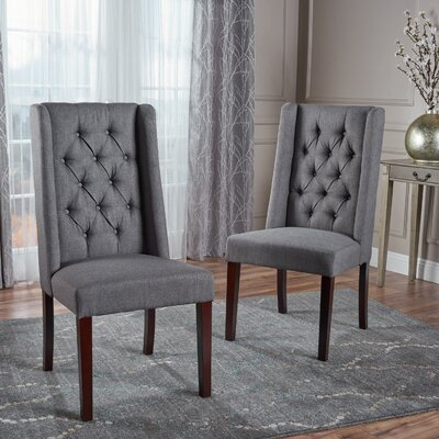 Toshia Upholstered Dining Chair Upholstery Color: Dark Gray
