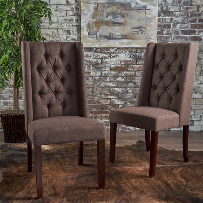 Toshia Upholstered Dining Chair Upholstery Color: Dark Brown