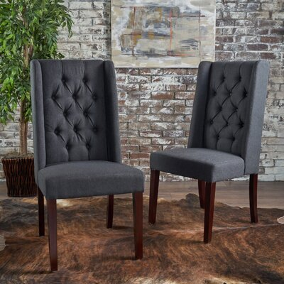 Toshia Upholstered Dining Chair Upholstery Color: Charcoal