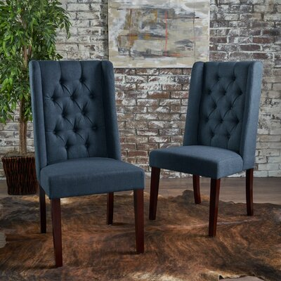 Toshia Upholstered Dining Chair Upholstery Color: Navy Blue