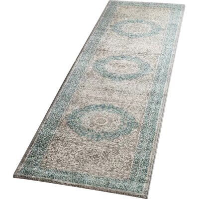 Sofia Light Gray/Blue Area Rug Rug Size: Runner 22 x 12