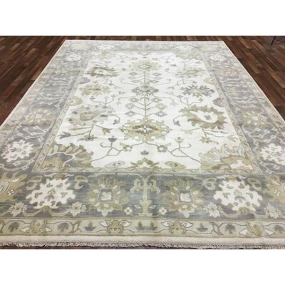 One-of-a-Kind Shumaker Hand-Woven Wool Beige/Gray Oriental Area Rug