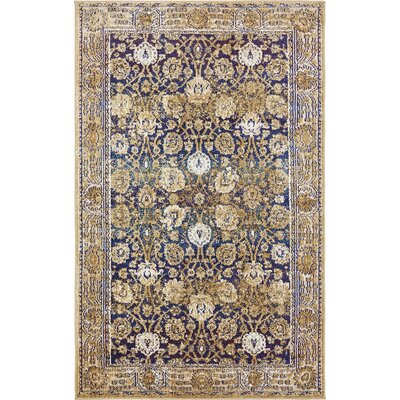 Rennick Dark Blue/Beige Area Rug Rug Size: Rectangle 106 x 165