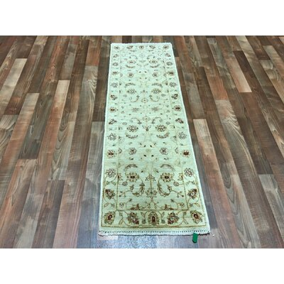 One-of-a-Kind Cherlyn Oriental Short Hand-Woven Wool Beige Area Rug
