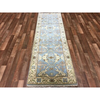 Mitchel Traditional Hand Woven Wool Blue/Beige Oriental Area Rug