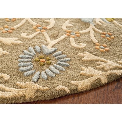 Parker Lane Hand-Tufted Wool Moss/Beige Area Rug Rug Size: Round 6