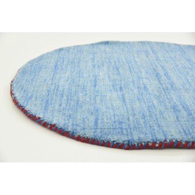 Langham Hand-Knotted Light Blue Area Rug Rug Size: Round 2 4