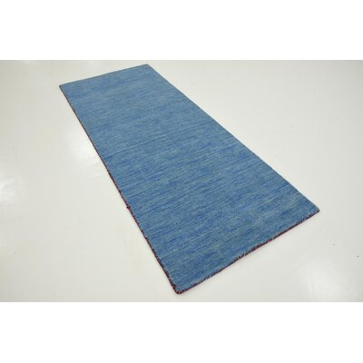 Langham Hand-Knotted Light Blue Area Rug Rug Size: Runner 27 x 67