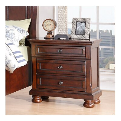 Elkland 3 Drawer Nightstand Color: Cherry