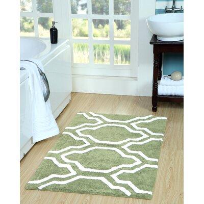 Almanza Bath Rug Size: 50 x 30, Color: Sage Green/White