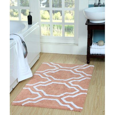 Almanza Bath Rug Size: 50 x 30, Color: Coral/White
