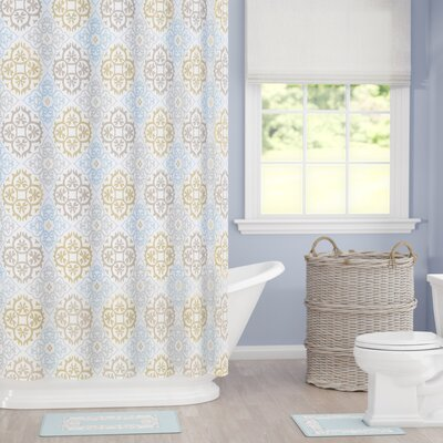 Goldston Shower Curtain Set Color: Sage-Beige